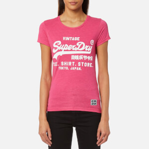 Superdry Women's Shirt Shop Overdyed Entry T-Shirt - Fluro Pink