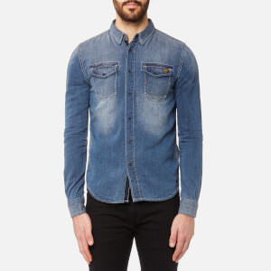 Superdry Men's Dragway Denim Long Sleeve Shirt - Sidewinder Herringbone