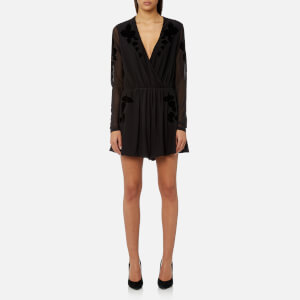 MINKPINK Women's Drifters Flocked Mesh Playsuit - Black