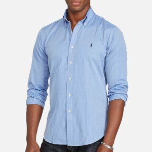 Polo Ralph Lauren Men's Cotton Poplin Slim Long Sleeve Shirt - Medium Blue/White