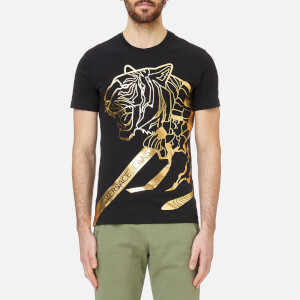 Versace Jeans Men's Foil Print Tiger T-Shirt - Black/Gold