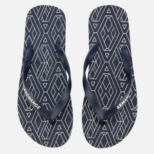 Armani Exchange Men's AX Flip Flops - AX Geometric Navy