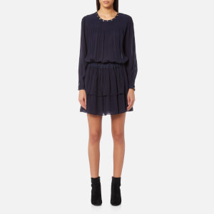 Maison Scotch Women's Drape Dress with Denim Detailing - Navy