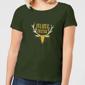 Felices Fiestas Reindeer Women's T-Shirt - Forest Green