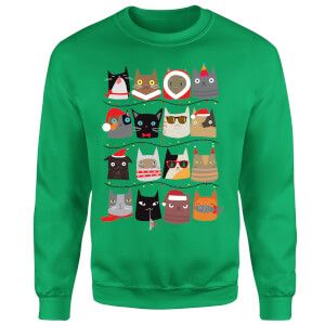 Christmas Cats Sweatshirt - Kelly Green
