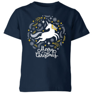 Unicorn Christmas Kids' T-Shirt - Navy