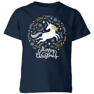 Unicorn Christmas Kids' T-Shirt - Navy