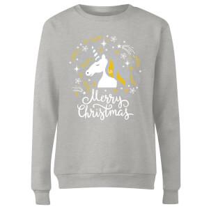 Unicorn Christmas Women's Sweatshirt - Grey