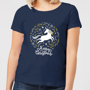 Unicorn Christmas Women's T-Shirt - Navy