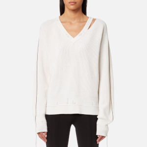 Helmut Lang Women's Distressed Wool Jumper - Ivory