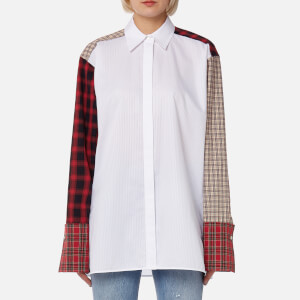 Helmut Lang Women's Plaid Patchwork Shirt - Optic White