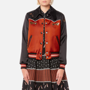 Coach Women's Shrunken Varsity Jacket - Port/Black