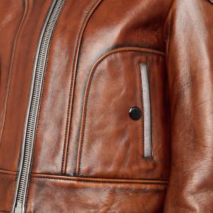 Coach Women's Landscape Leather Jacket - Dark Teak: Image 4