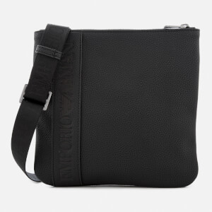 Emporio Armani Men's Small Flat Messenger Bag - Black
