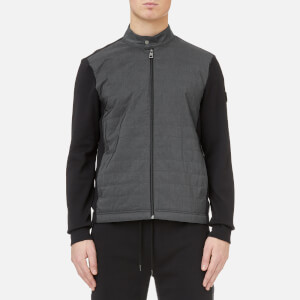 Michael Kors Men's Nylon Quilted Front Heavy Interlock Track Jacket - Black