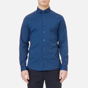 Michael Kors Men's Slim Fit Spread Collar Stretch Nylon Poplin Shirt - Admiral Blue