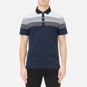 Michael Kors Men's Multi Texture Stripe Yolk Block Polo Shirt - Midnight