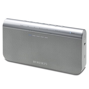 Roberts Radio BluPad Portable Bluetooth Speaker with Leather Carry Case - Silver