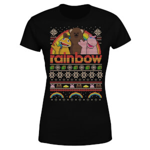 Rainbow Christmas Women's T-Shirt - Black