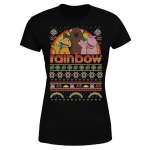 T-Shirt de Noël Femme Rainbow - Noir