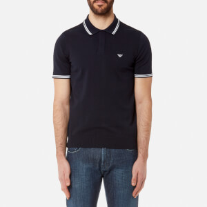 Emporio Armani Men's Knitted Maglia Polo Shirt - Blu