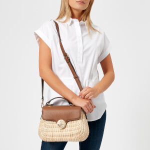 Dune Women's Wicker Bag with Leather Flap - Tan: Image 3