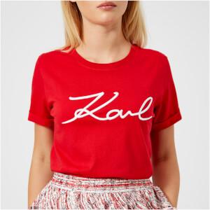 Karl Lagerfeld Women's Signature T-Shirt - Red