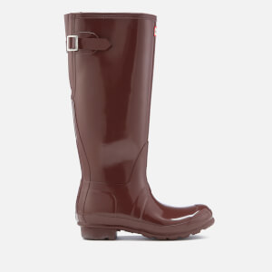 Hunter Women's Original Back Adjustable Gloss Wellies - Umber
