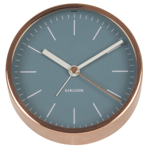 Karlsson Minimal Alarm Clock - Blue Jeans Copper Plated