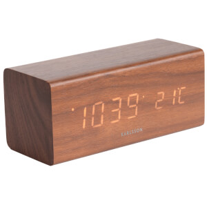 Karlsson Block Alarm Clock - Dark Wood Veneer - Orange LED