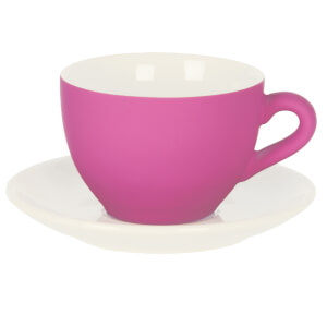 Silk Coffee Cup with Saucer - Neon Pink