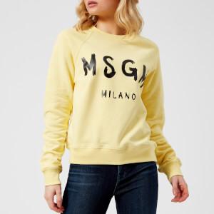MSGM Women's Graffitti Logo Sweatshirt - Yellow