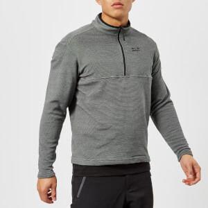 Jack Wolfskin Men's Arco 1/4 Zip Fleece - Black Stripes