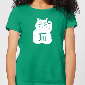 Lucky Cat Women's T-Shirt - Kelly Green