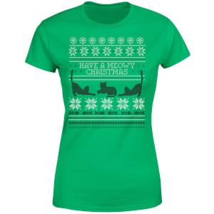 Meowy Christmas Women's T-Shirt - Kelly Green