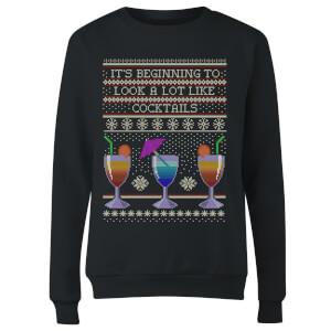Its Beginning To Look A Lot Like Cocktails Women's Sweatshirt - Black