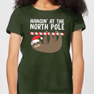 "Camiseta Navidad ""Hangin' At The North Pole"" - Mujer - Verde oscuro"