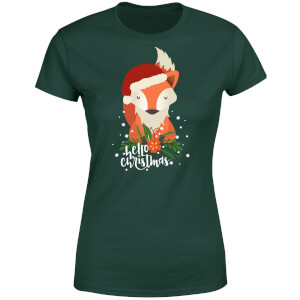 Christmas Fox Hello Christmas Women's T-Shirt - Forest Green