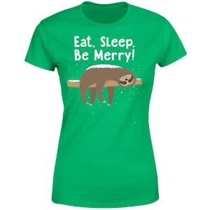 Eat, Sleep, Be Merry Women's T-Shirt - Kelly Green
