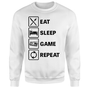 Eat Sleep Game Repeat Sweatshirt - White