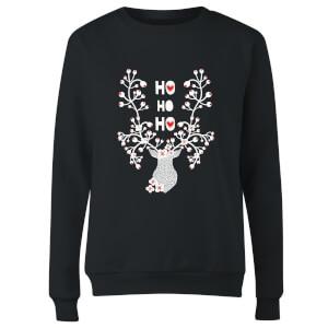 Ho Ho Ho Reindeer Women's Sweatshirt - Black