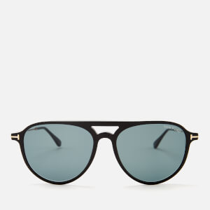 Tom Ford Men's Carlo Aviator Style Sunglasses - Shiny Black/Blue