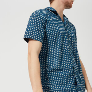 YMC Men's Spot Print Malick Short Sleeve Shirt - Indigo
