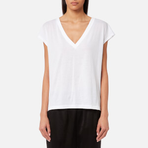 T by Alexander Wang Women's Superfine Jersey Deep V Drop Shoulder T-Shirt - White