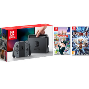 Nintendo Switch Console with Grey Joy-Con, The Binding of Issac & Monopoly