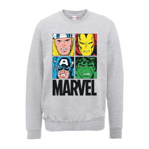 Marvel Multi Colour Main Tile Men's Grey Sweatshirt