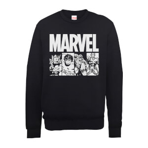 Felpa Marvel Comics Action Tiles Black - Uomo