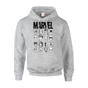 Felpa con cappuccio Marvel Comics Multi-Faces Grey Pullover - Uomo