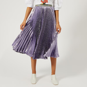 Christopher Kane Women's Lame Pleated Skirt - Purple
