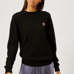 Christopher Kane Women's Cashmere K Crew Neck Jumper - Black/Pink